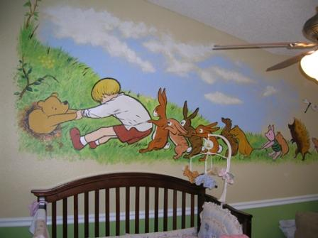 Winnie the pooh nursery murals for Classic winnie the pooh wall mural