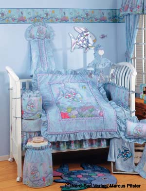 Rainbow fish bedding set for sale for Fish crib bedding